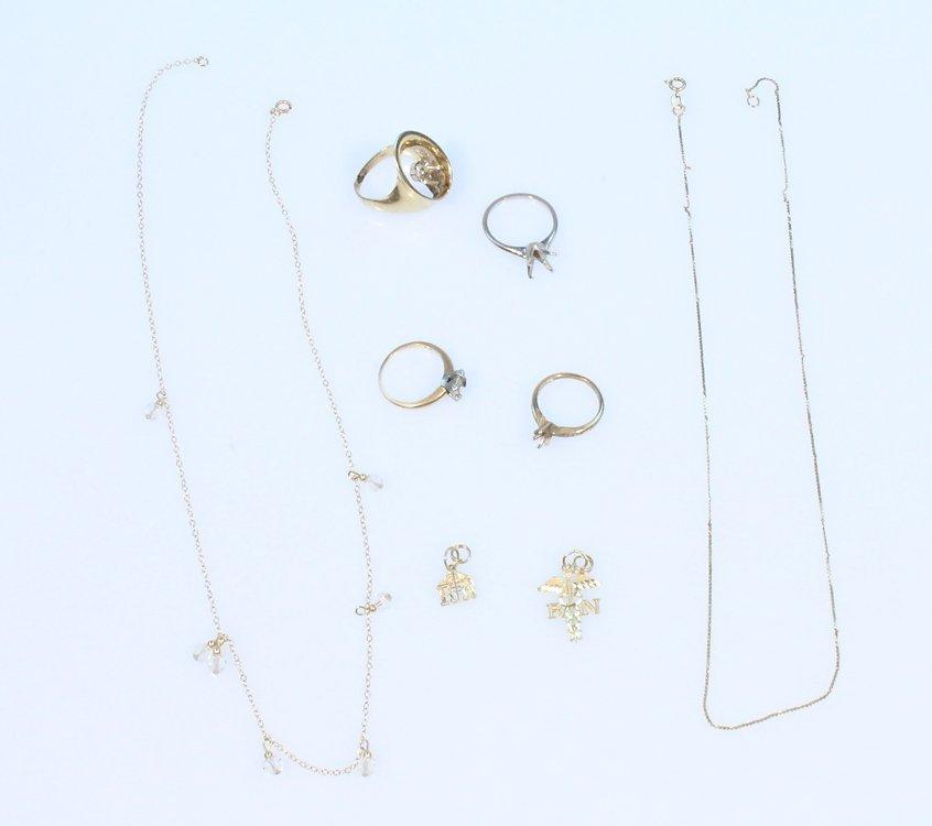 8Pcs Vintage Jewelry 14K GOLD CHAINS PENDANTS & RINGS