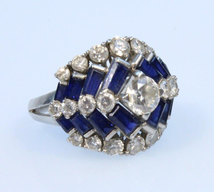 Precious Gemstones PLATINUM ART DECO RING Vintage