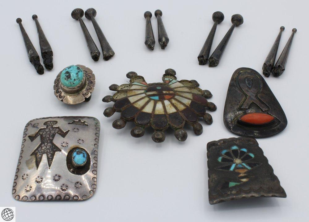 15Pcs Hopi Zuni STERLING SILVER NATIVE AMERICAN JEWELRY
