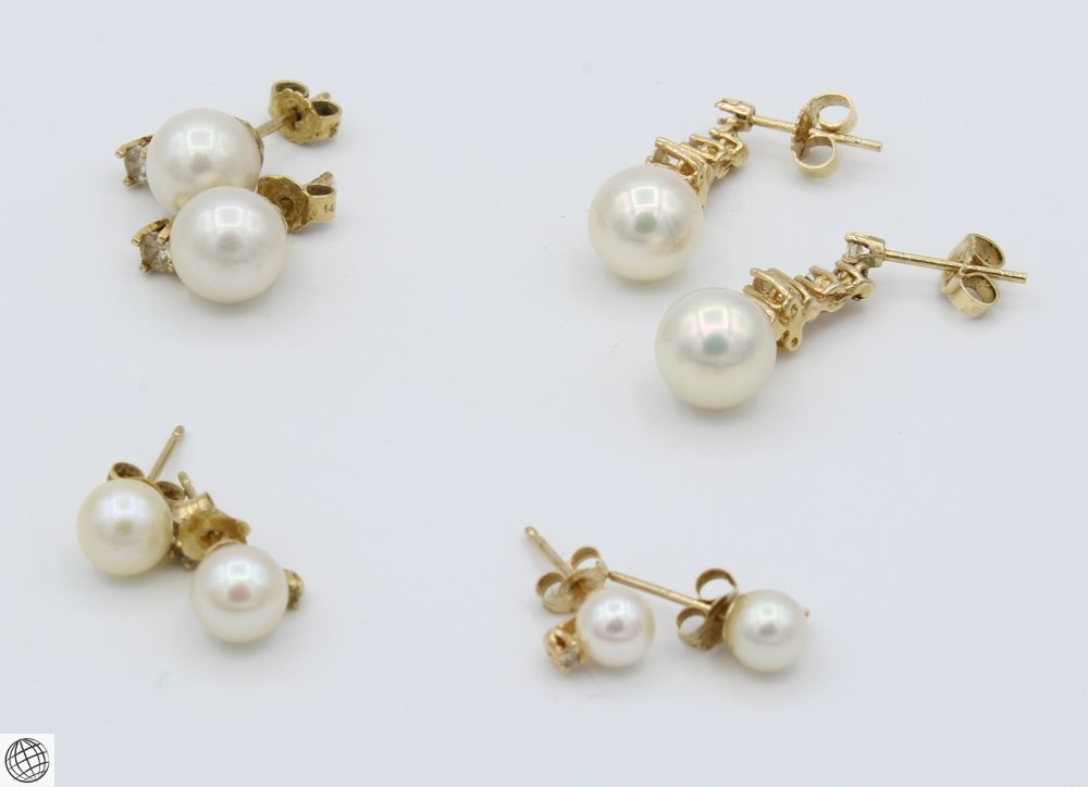 8Pcs 14 Karat Yellow GOLD PEARL DIAMOND EARRINGS Studs