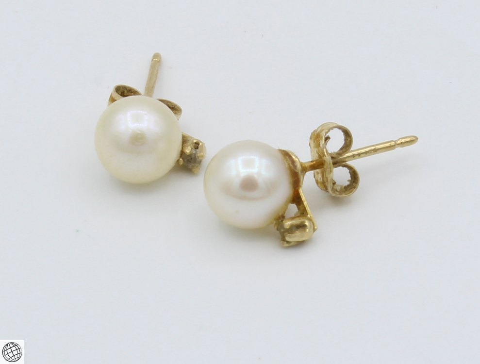 8Pcs 14 Karat Yellow GOLD PEARL DIAMOND EARRINGS Studs - 2