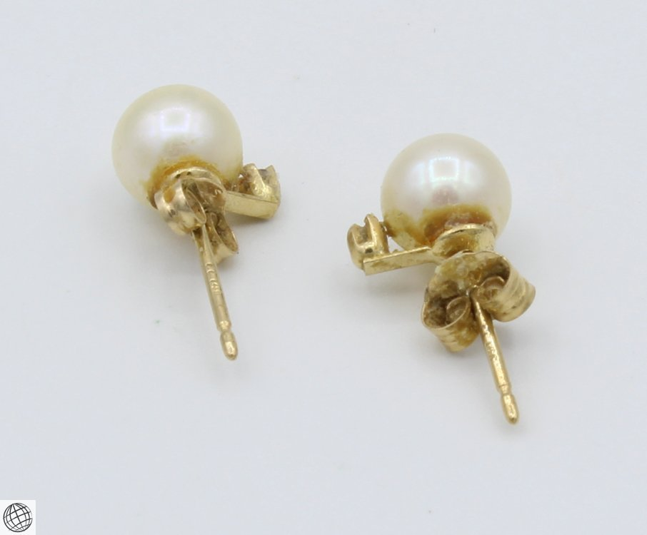 8Pcs 14 Karat Yellow GOLD PEARL DIAMOND EARRINGS Studs - 3