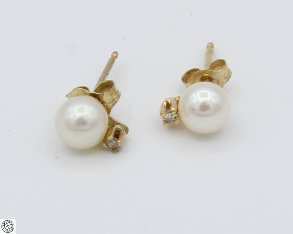 8Pcs 14 Karat Yellow GOLD PEARL DIAMOND EARRINGS Studs - 4