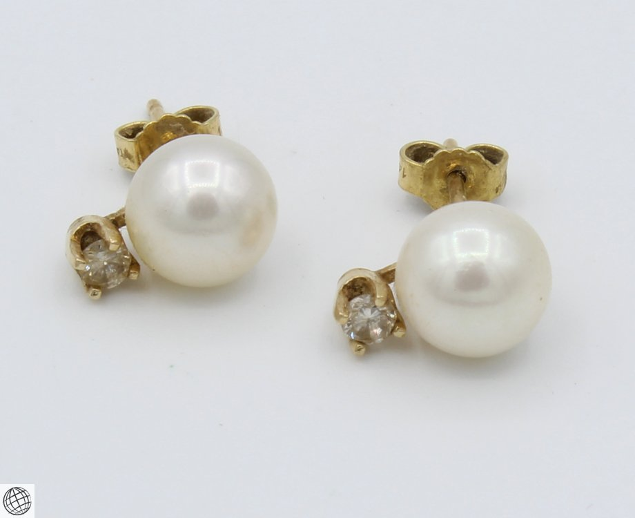 8Pcs 14 Karat Yellow GOLD PEARL DIAMOND EARRINGS Studs - 6