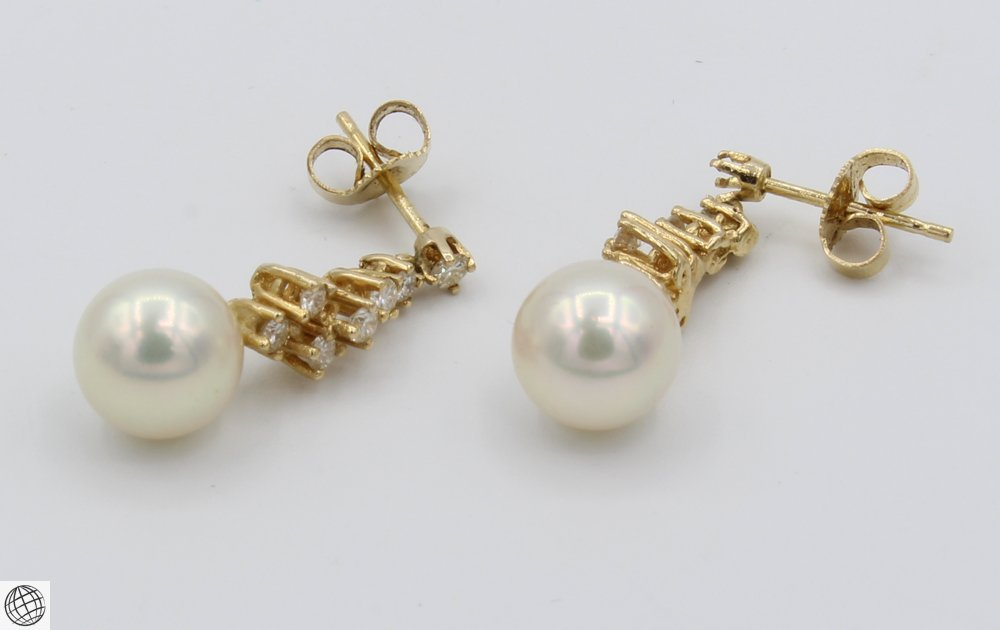 8Pcs 14 Karat Yellow GOLD PEARL DIAMOND EARRINGS Studs - 8