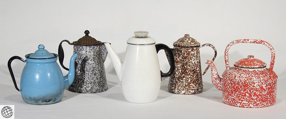 5Pcs Spatterware VINTAGE GRANITEWARE KETTLES & COFFEE