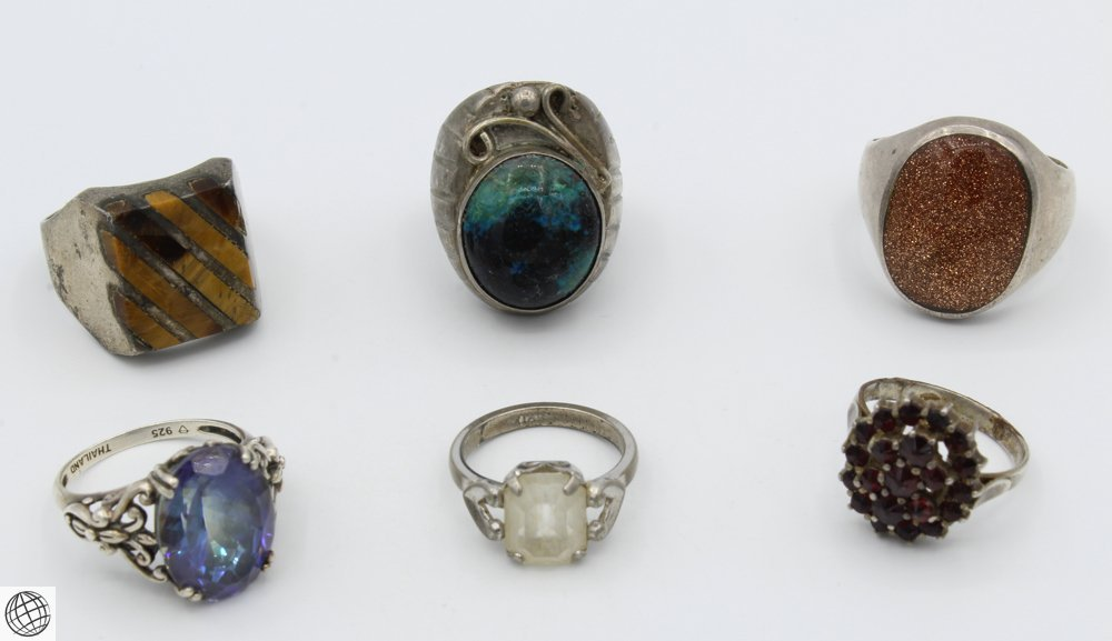 6Pcs Vintage Estate Jewelry RINGS Sterling Silver