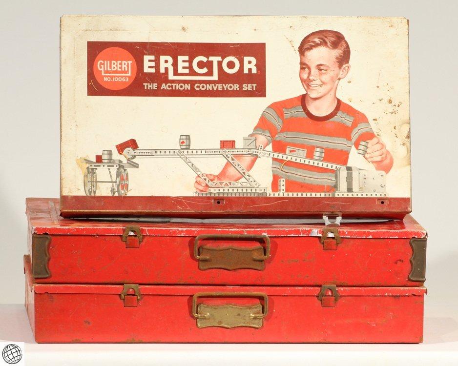 3Pcs Children's Toys VINTAGE ERECTOR SET METAL CASES