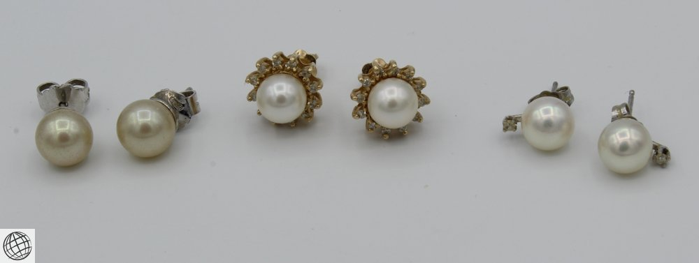 6Pcs Diamonds Akoya VINTAGE PEARL EARRINGS Majorica