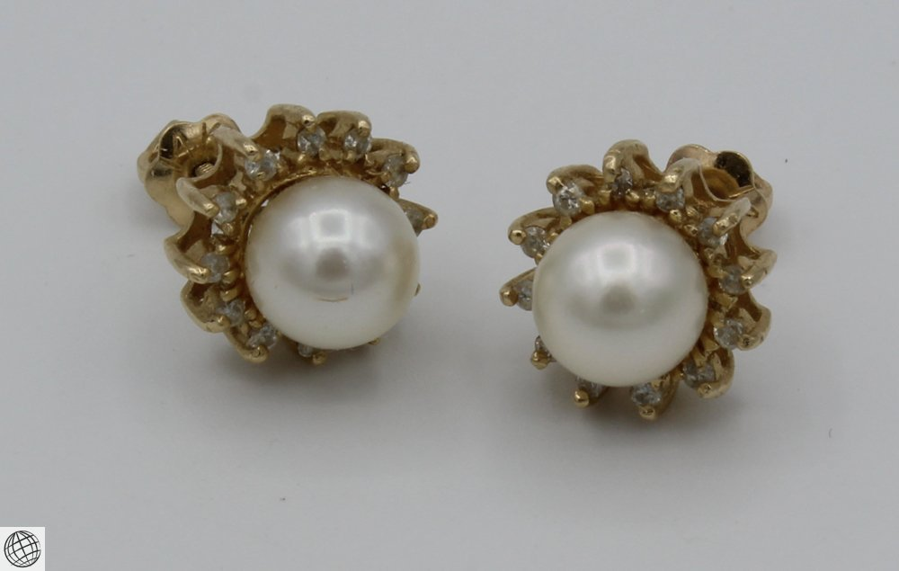 6Pcs Diamonds Akoya VINTAGE PEARL EARRINGS Majorica - 2