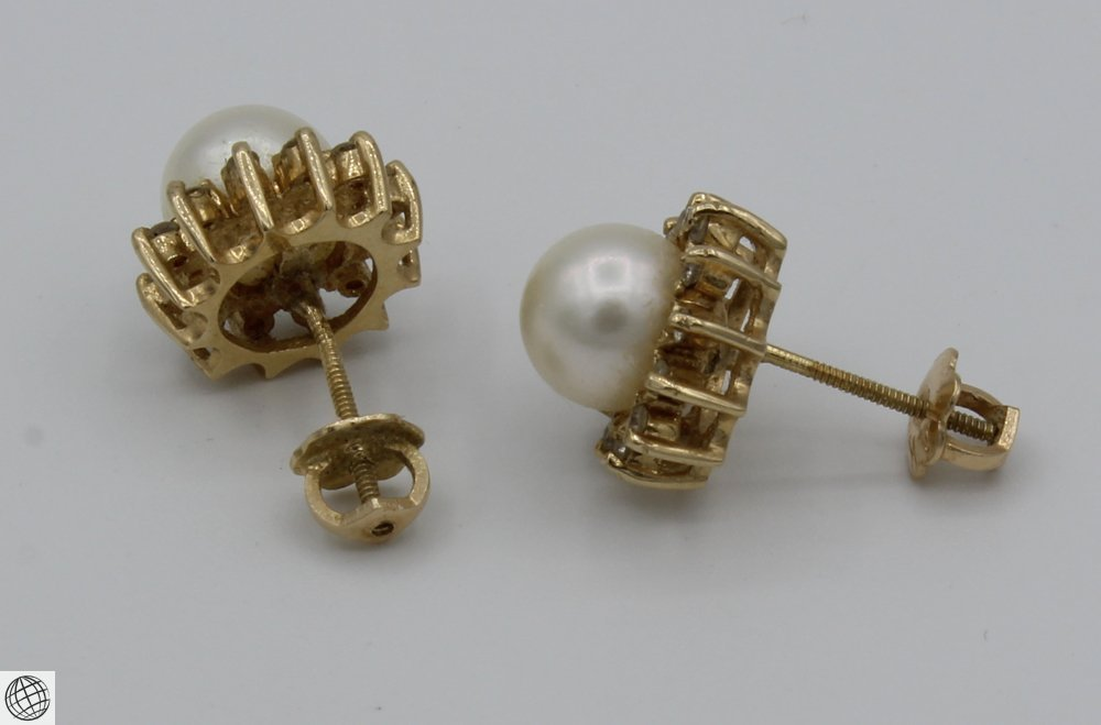 6Pcs Diamonds Akoya VINTAGE PEARL EARRINGS Majorica - 3