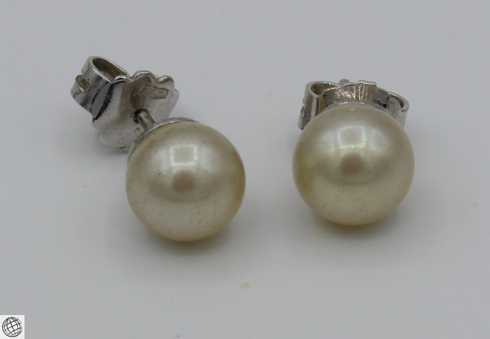 6Pcs Diamonds Akoya VINTAGE PEARL EARRINGS Majorica - 4