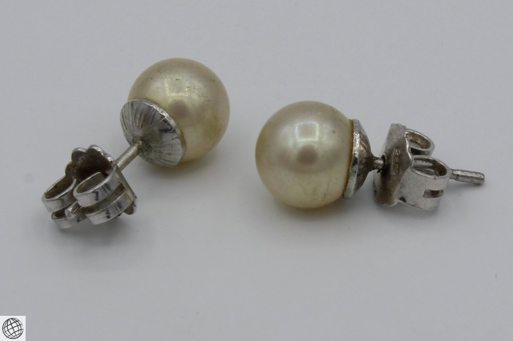 6Pcs Diamonds Akoya VINTAGE PEARL EARRINGS Majorica - 5