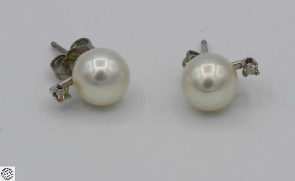 6Pcs Diamonds Akoya VINTAGE PEARL EARRINGS Majorica - 6