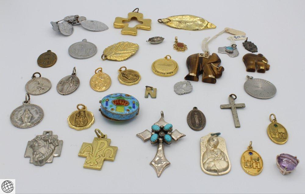 25Pcs Tiger's Eye VINTAGE PENDANTS Religious Jewelry