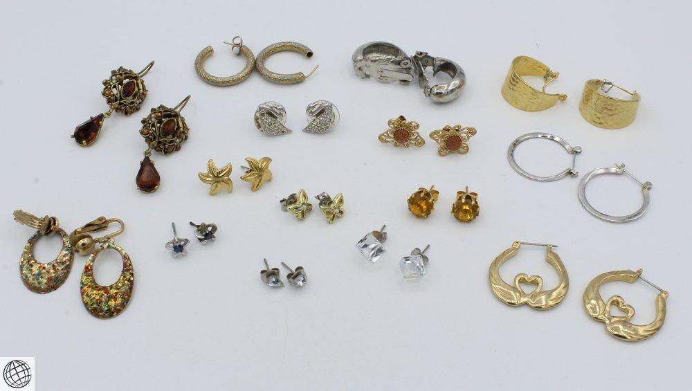 30Pcs Austrian Crystal VINTAGE EARRINGS Costume Jewelry