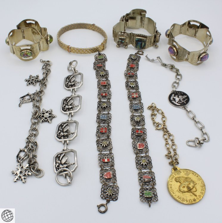 10Pcs Abalone LADIES' VINTAGE COSTUME BRACELETS Chain