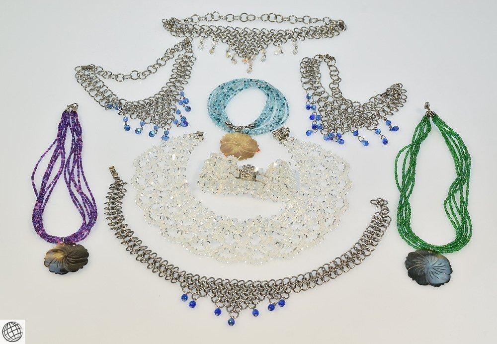 8Pcs Czech Crystal VINTAGE COSTUME JEWELRY Chain