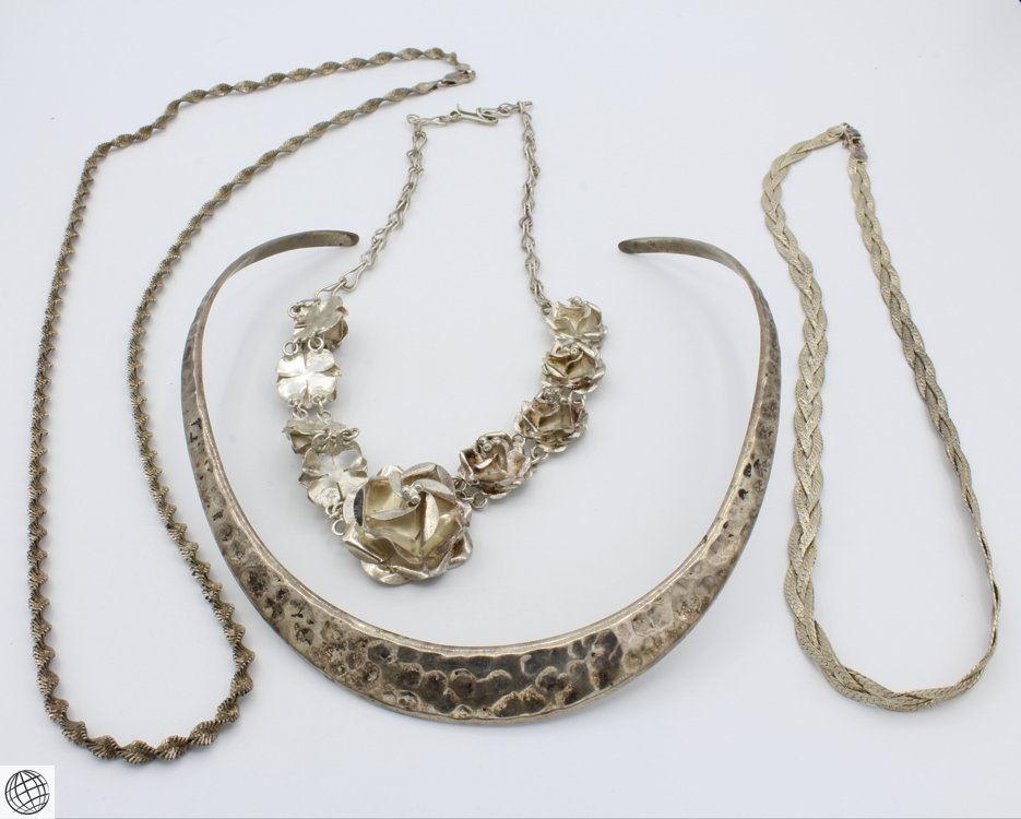 4Pcs Mexico Singapore VINTAGE STERLING SILVER JEWELRY