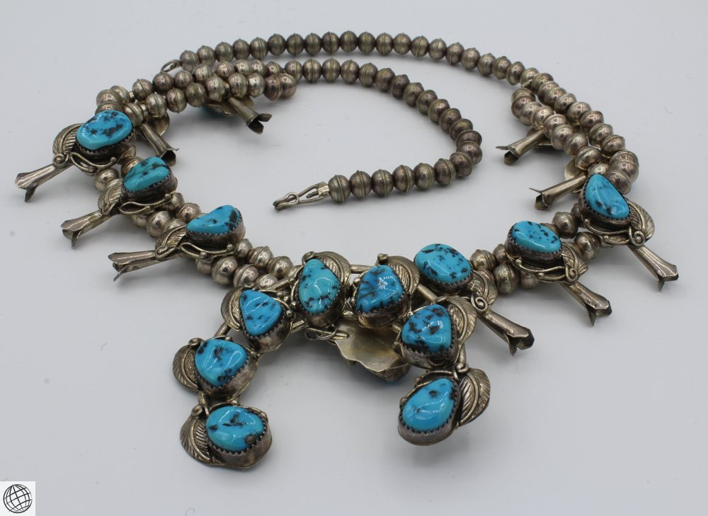 """Native American STERLING SILVER TURQUOISE NECKLACE 24"""""""