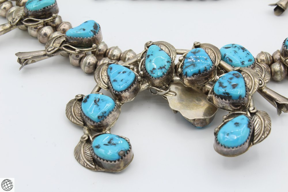 """Native American STERLING SILVER TURQUOISE NECKLACE 24"""" - 2"""