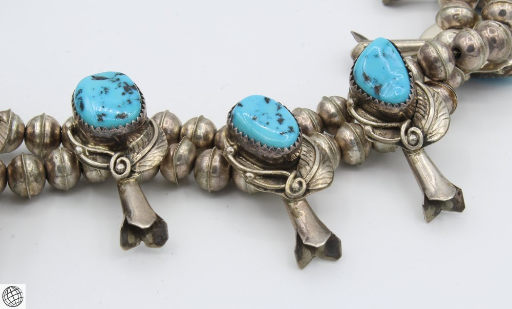"""Native American STERLING SILVER TURQUOISE NECKLACE 24"""" - 3"""