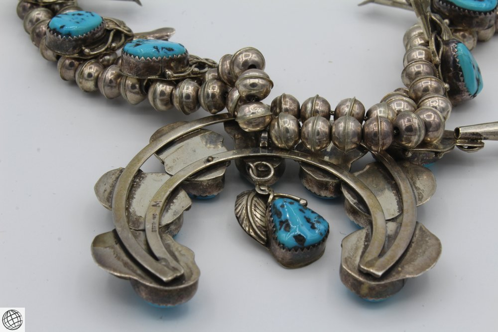 """Native American STERLING SILVER TURQUOISE NECKLACE 24"""" - 5"""