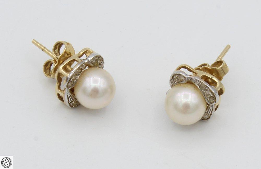 10Pcs Diamonds Akoya VINTAGE CHINESE PEARL EARRINGS - 10