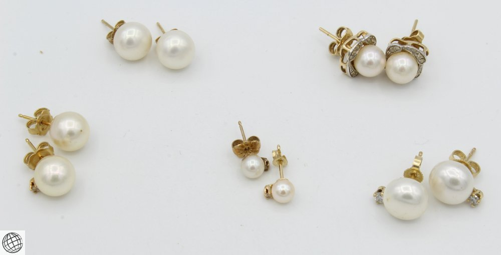 10Pcs Diamonds Akoya VINTAGE CHINESE PEARL EARRINGS