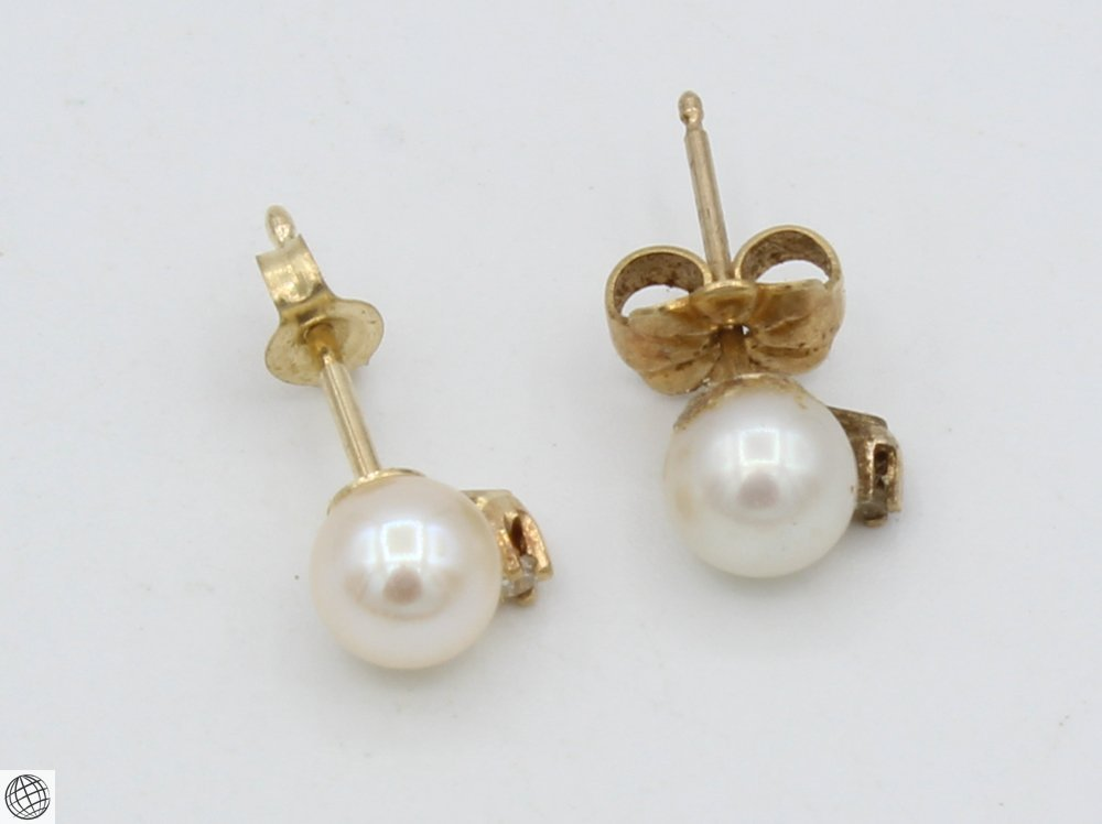 10Pcs Diamonds Akoya VINTAGE CHINESE PEARL EARRINGS - 2