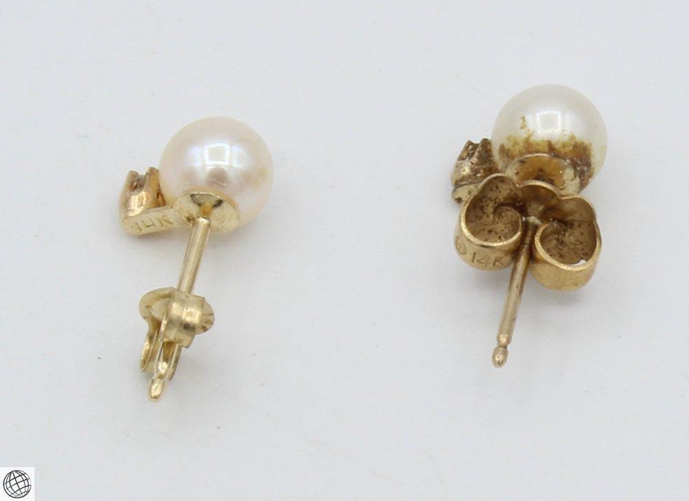 10Pcs Diamonds Akoya VINTAGE CHINESE PEARL EARRINGS - 3