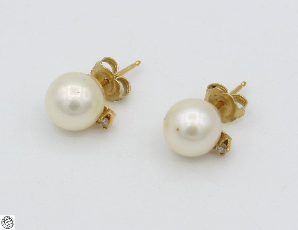10Pcs Diamonds Akoya VINTAGE CHINESE PEARL EARRINGS - 4