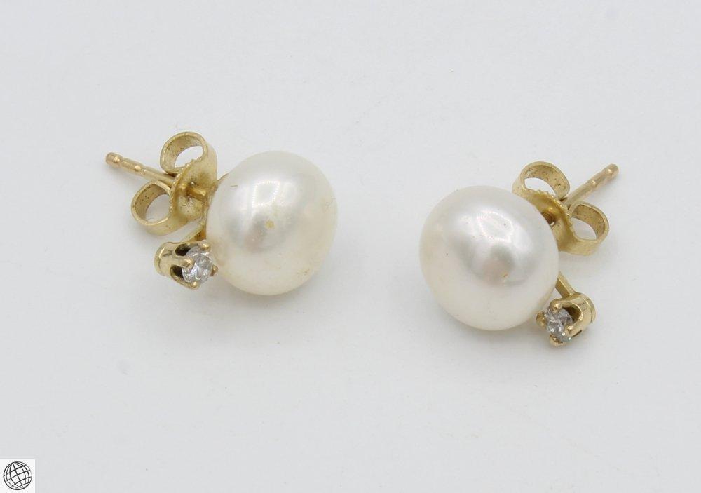 10Pcs Diamonds Akoya VINTAGE CHINESE PEARL EARRINGS - 8