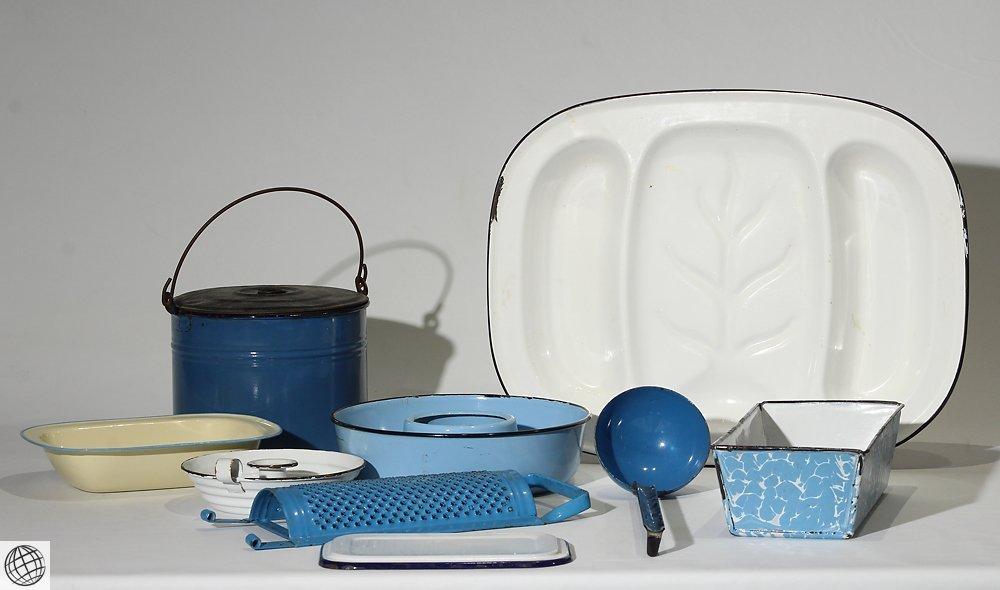 8Pcs Spatterware VINTAGE GRANITEWARE Enamelware Blue