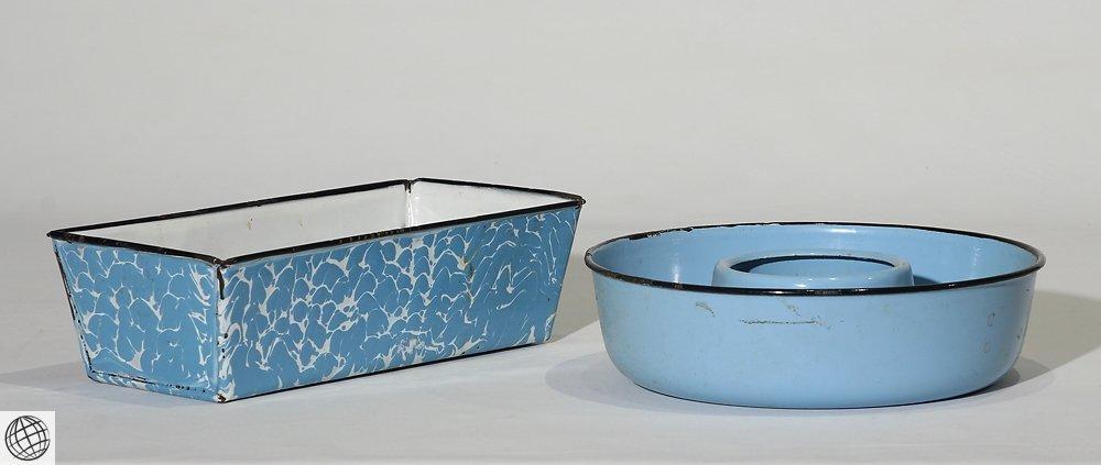 8Pcs Spatterware VINTAGE GRANITEWARE Enamelware Blue - 4