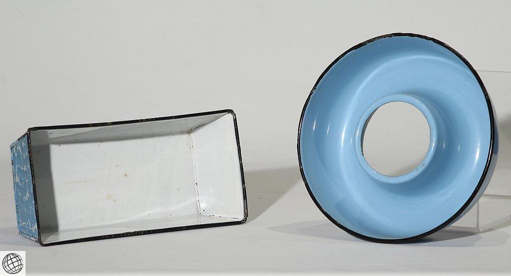 8Pcs Spatterware VINTAGE GRANITEWARE Enamelware Blue - 5