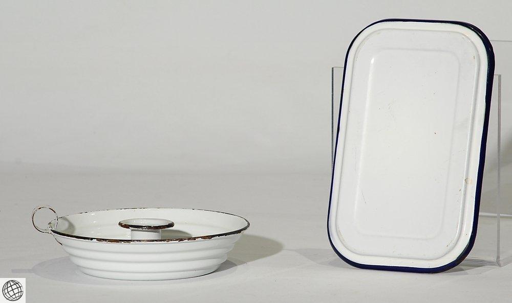 8Pcs Spatterware VINTAGE GRANITEWARE Enamelware Blue - 6