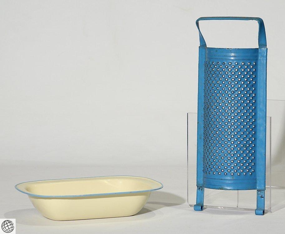 8Pcs Spatterware VINTAGE GRANITEWARE Enamelware Blue - 8