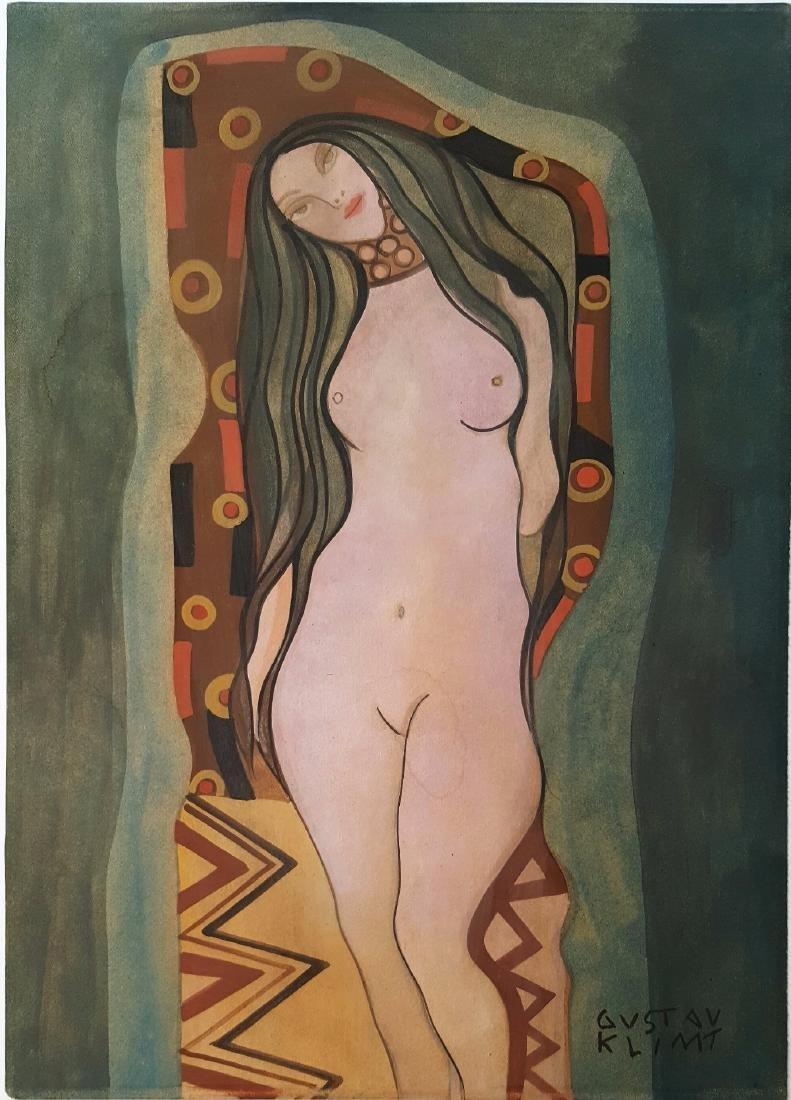 Gustav Klim gouache on paper signed painting