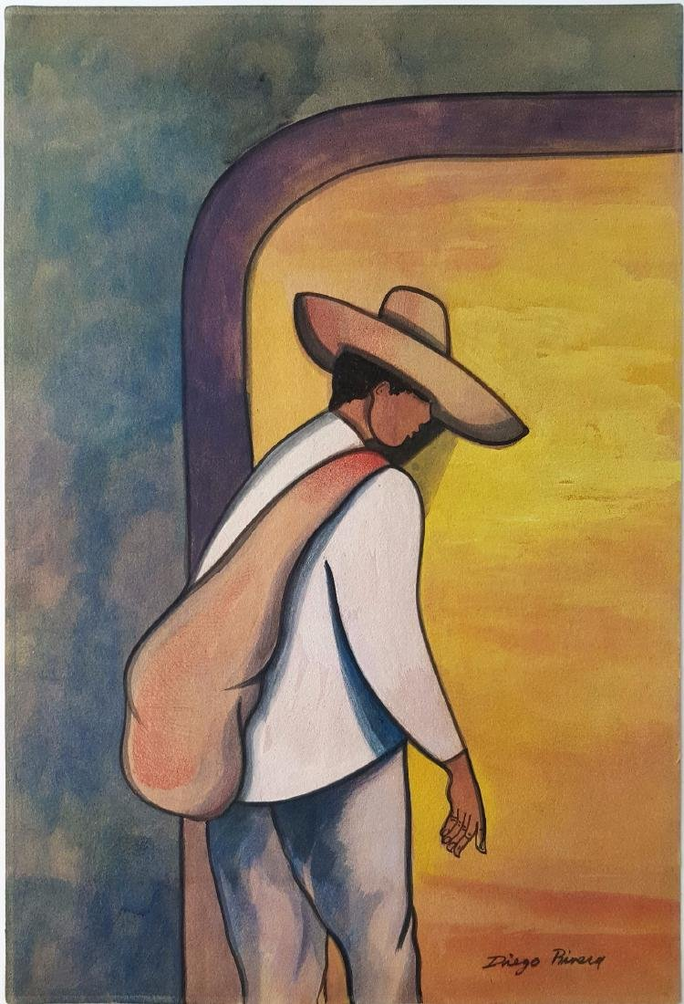 Diego Rivera gouache on paper signed painting