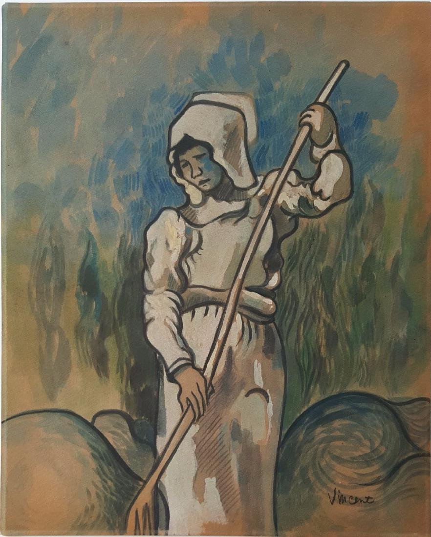 Vicent Van Gogh gouache on paper signed painting