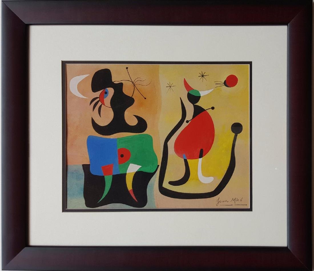 Joan MIRO gouache on paper signed painting.