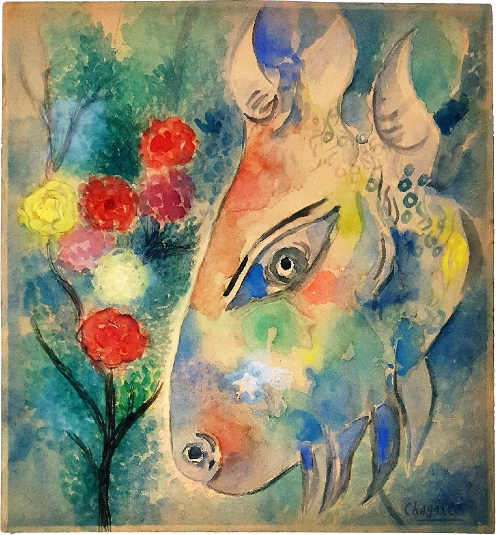 Marc Chagall watercolor on paper