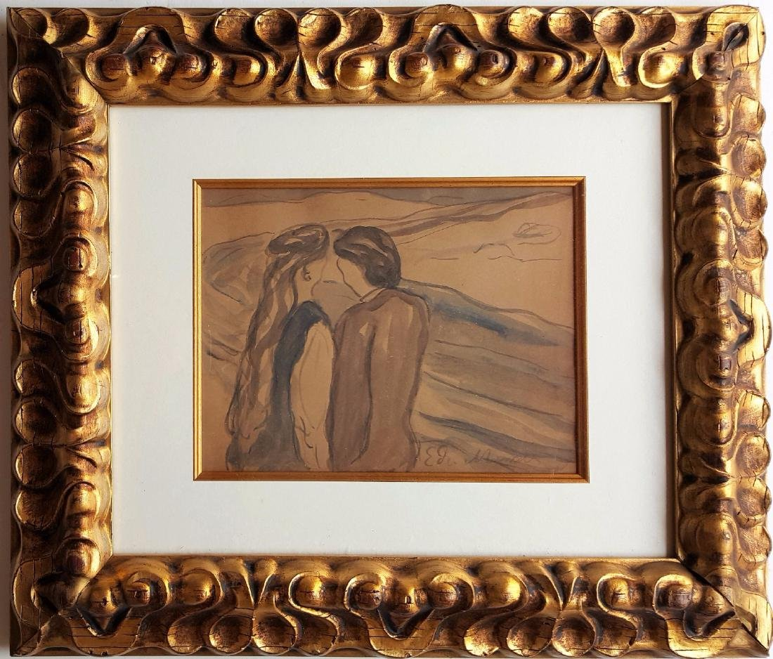 Edvard MUNCH watercolor on paper signed painting