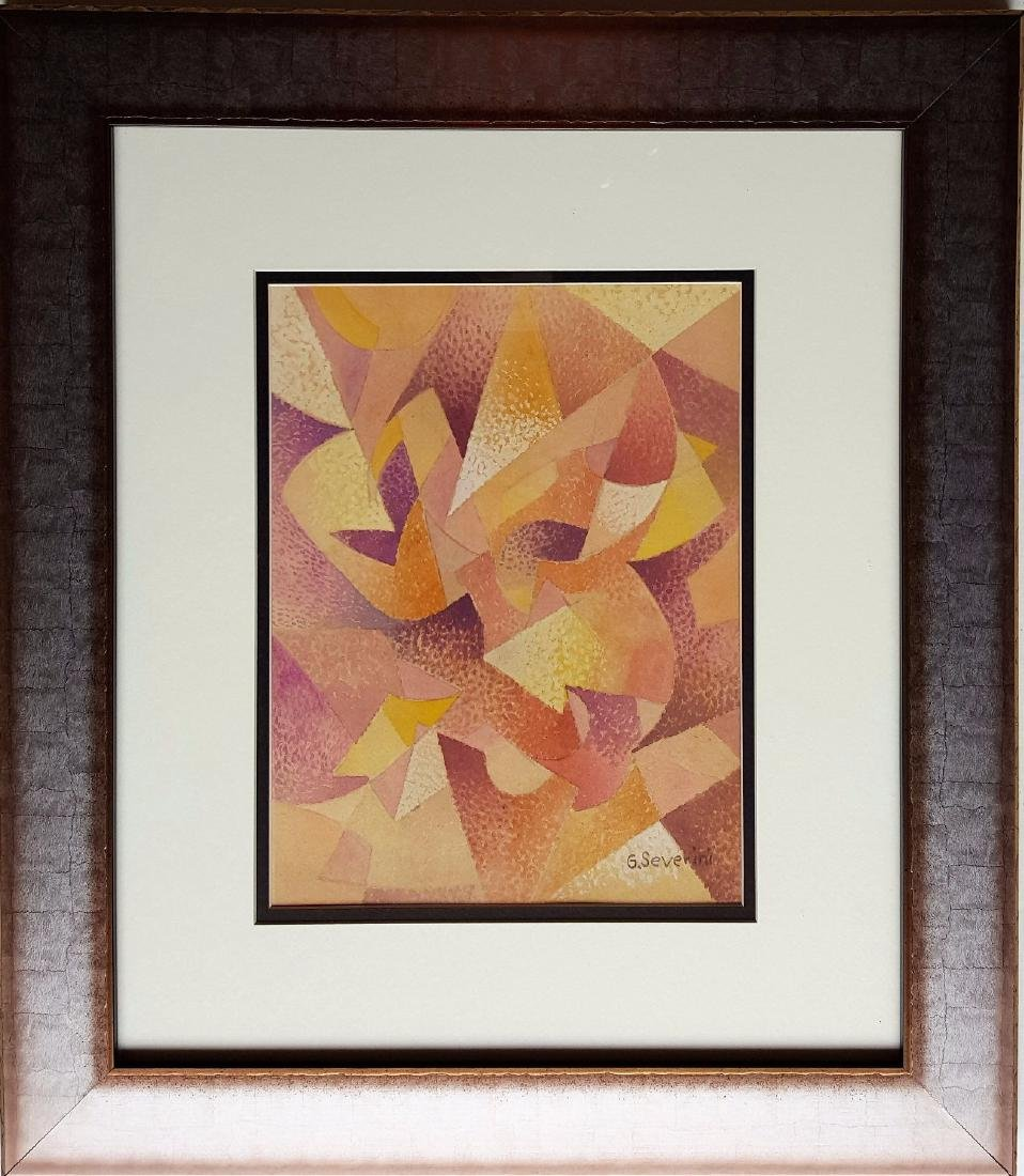 Gino Severini  gouache on paper signed painting