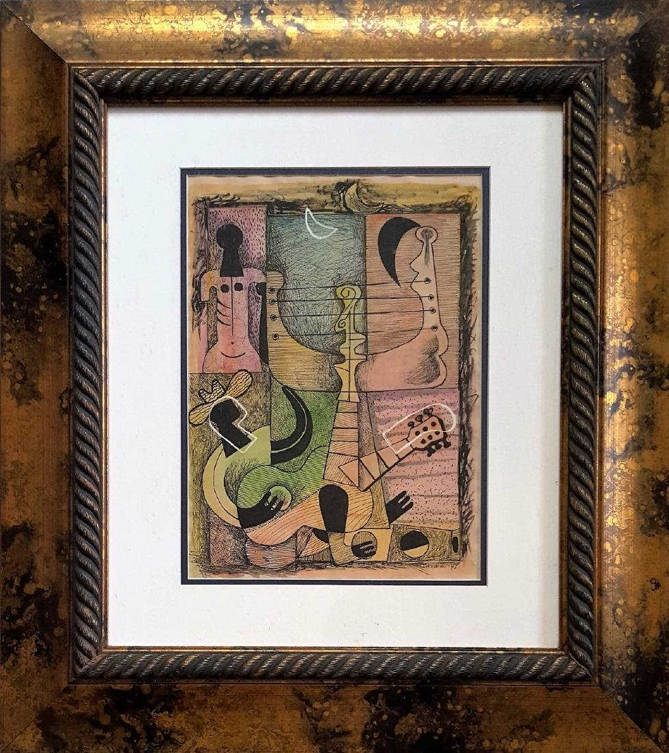 Mario Carreno mixed media on paper signed painting