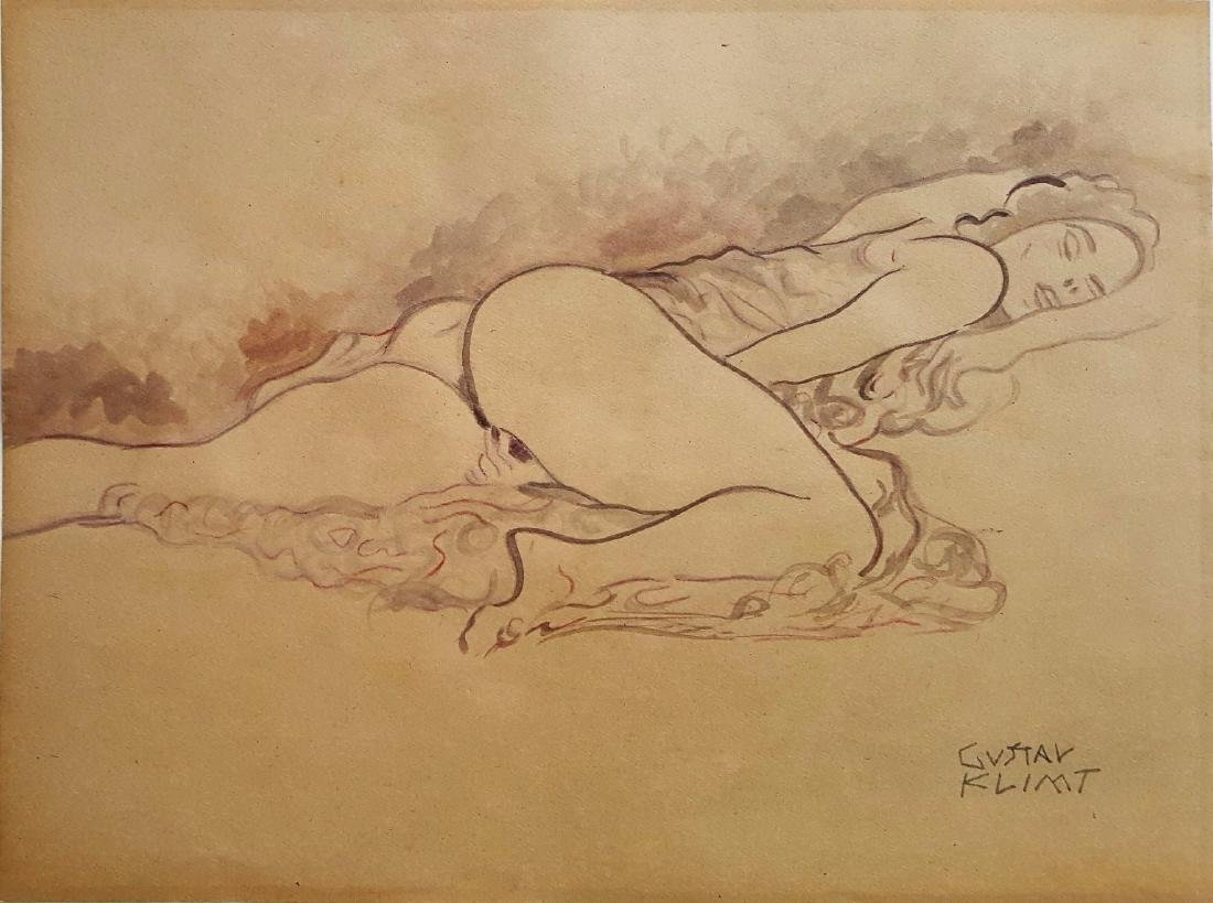 Gustav Klim watercolor on paper signed painting