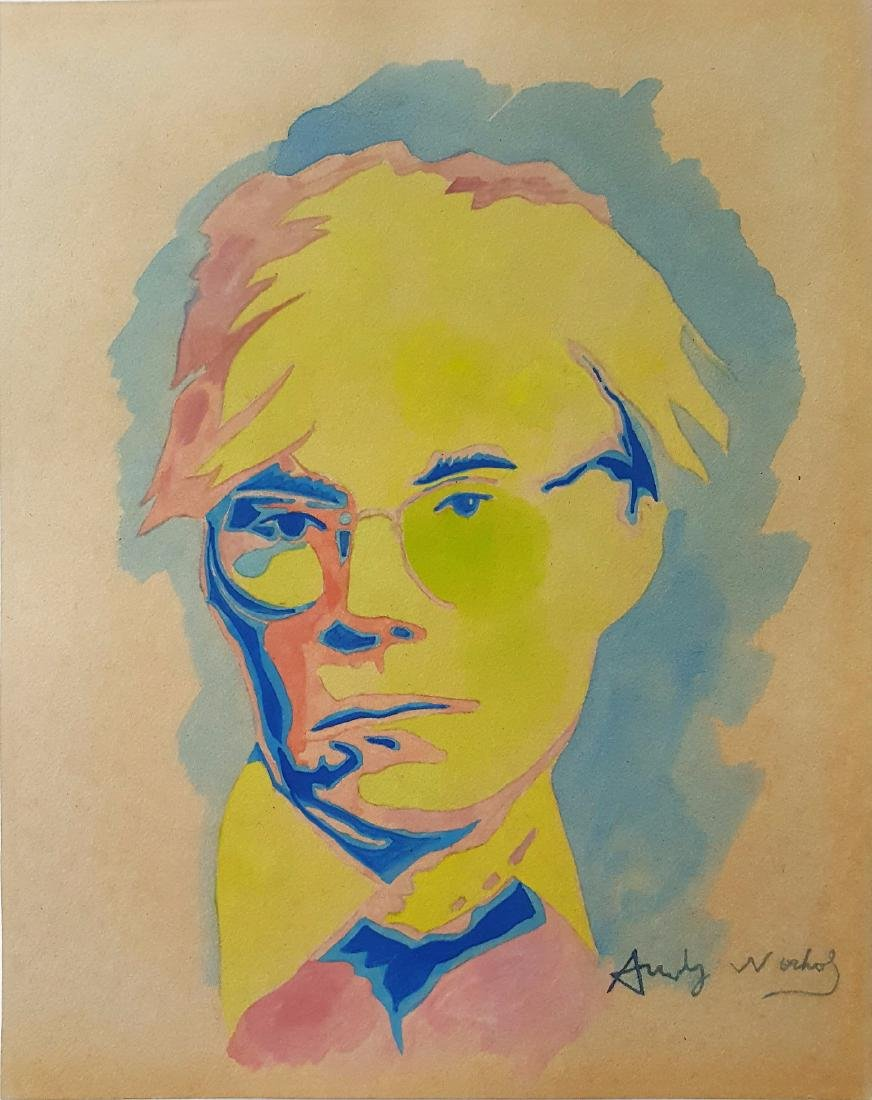 Andy WARHOL gouache on paper signed painting - 2
