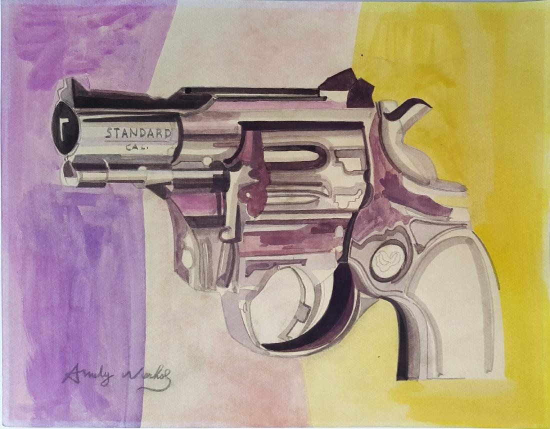 Andy WARHOL gouache on paper signed painting.