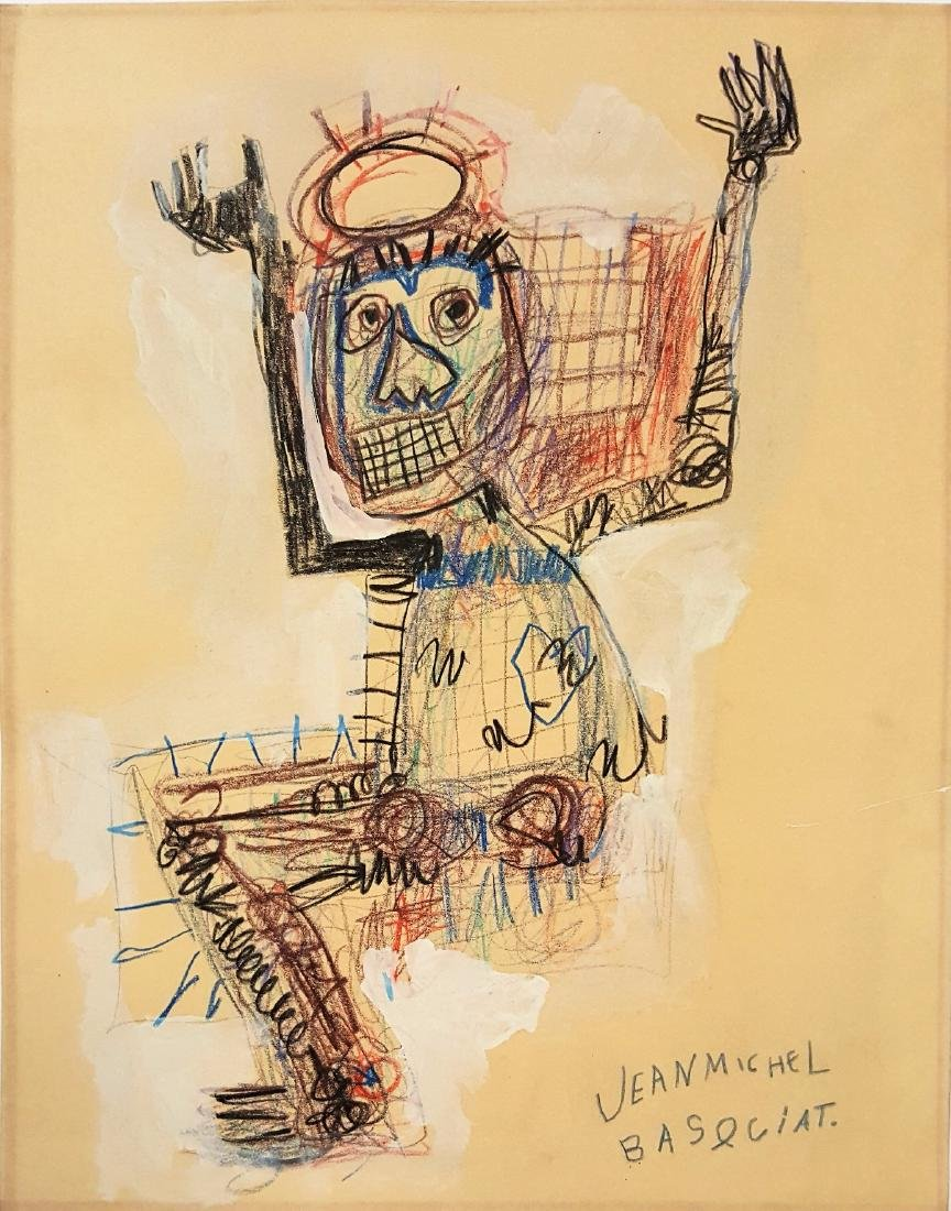 JEAN MICHEL BASQUIAT  mixed media on paper signed - 2